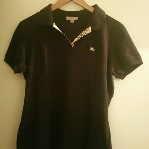Vintage Burberry Polo Top XL Black Embroidered Log